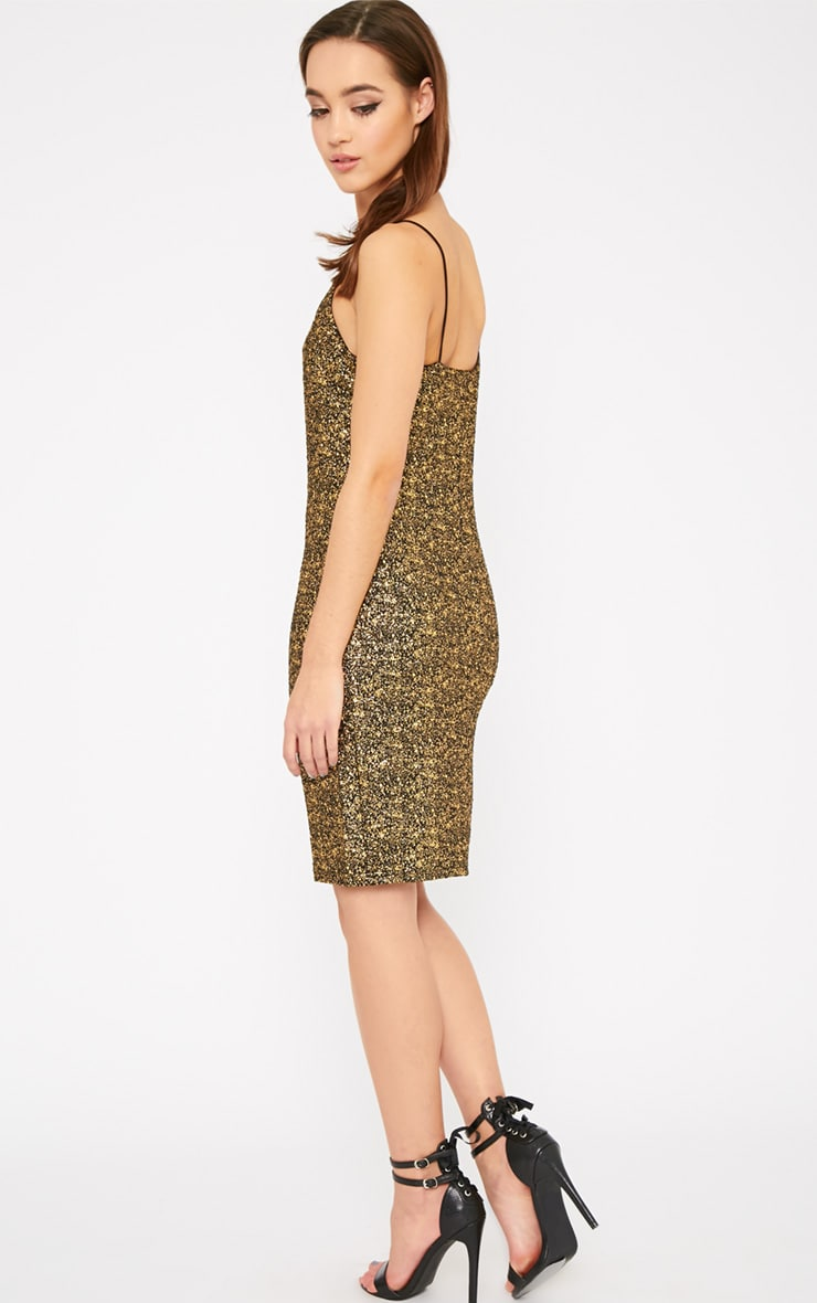 Hania Black Gold Flecked Mini Dress-XS 2