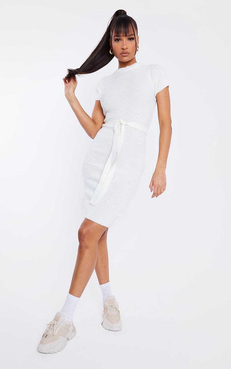 Cream Short Sleeve Belted Midi Dress 1