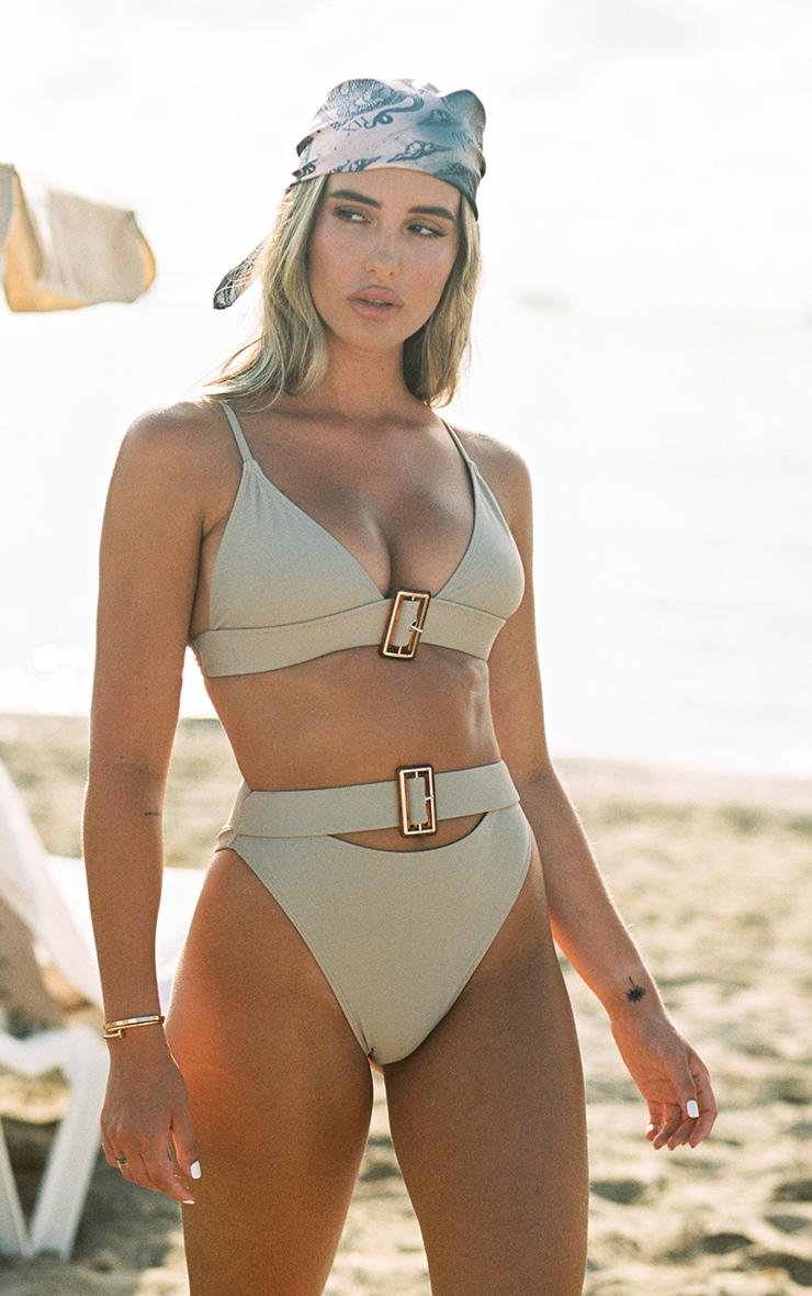 Sand Tortoise Belted High Waisted Bikini Bottom 1