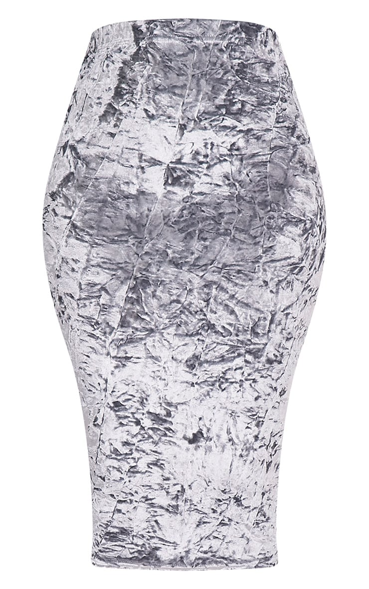 Lacy Silver Crushed Velvet Midi Skirt 2