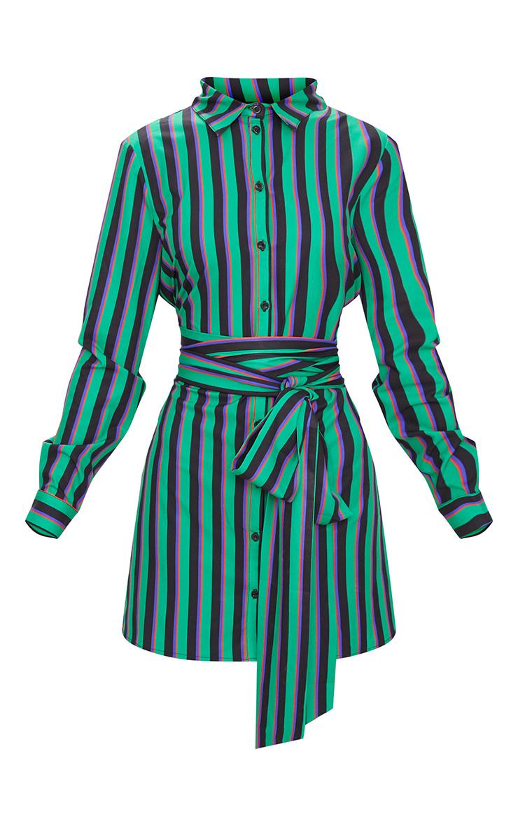 Green Stripe Tie Waist Shirt Dress 3