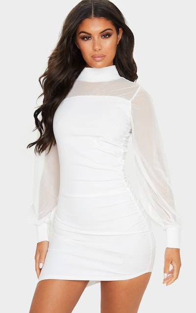 White Mesh Bodice Long Sleeve Ruched Bodycon Dress