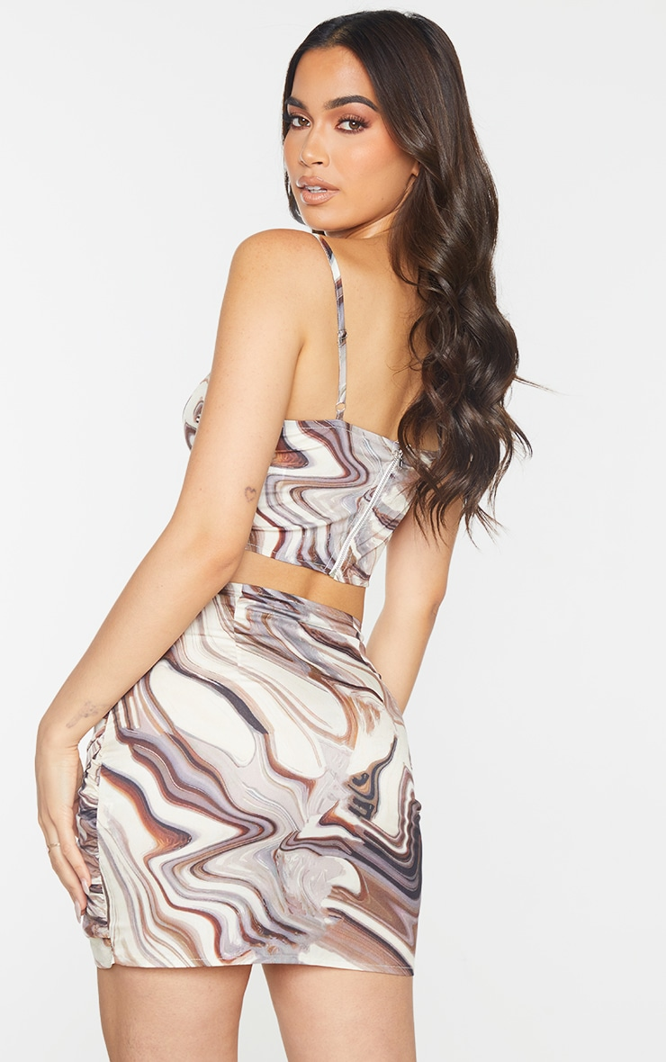 Brown Woven Marble Printed Cup Detail Strappy Corset Top 2