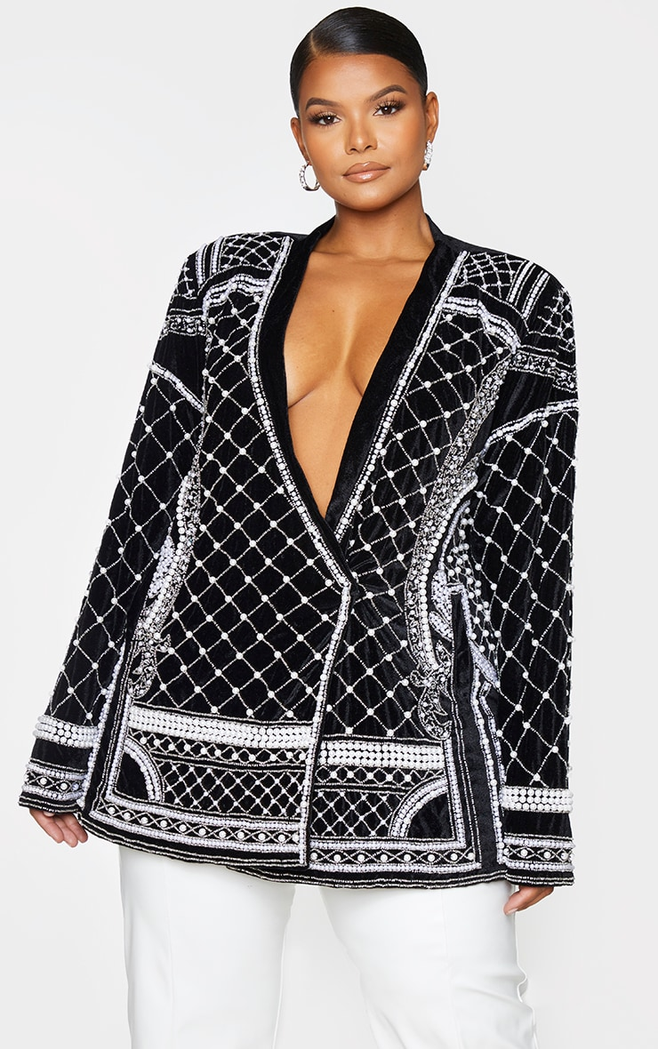 Plus Premium Black Velvet Embellished Beaded Oversized Blazer 1
