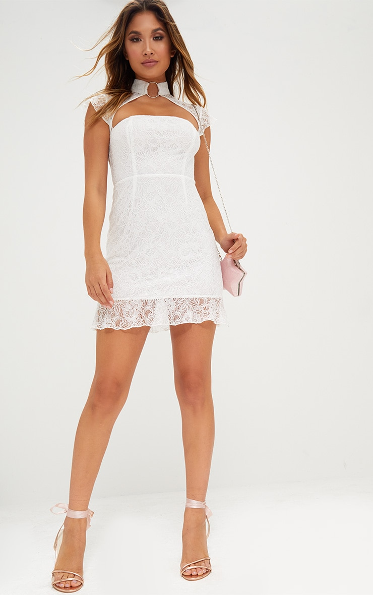 White Lace Ring Detail Frill Hem Bodycon Dress  4