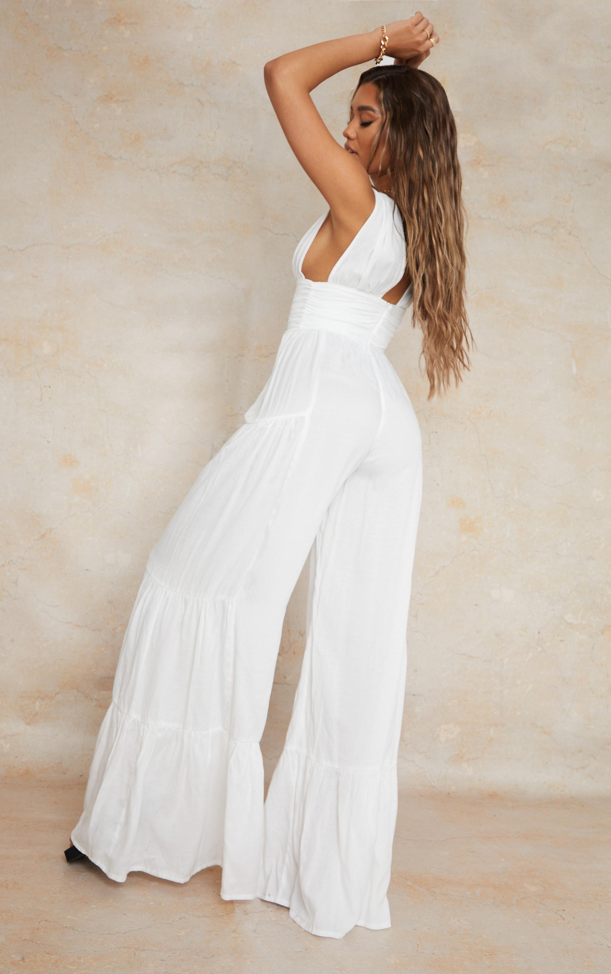 White Linen Look Plunge Tiered Wide Leg Jumpsuit 2