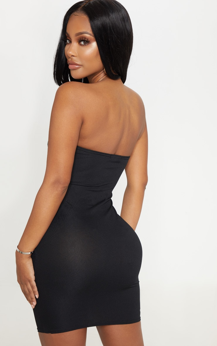 Shape Black Ribbed Cut Out Bandeau Bodycon Dress 2