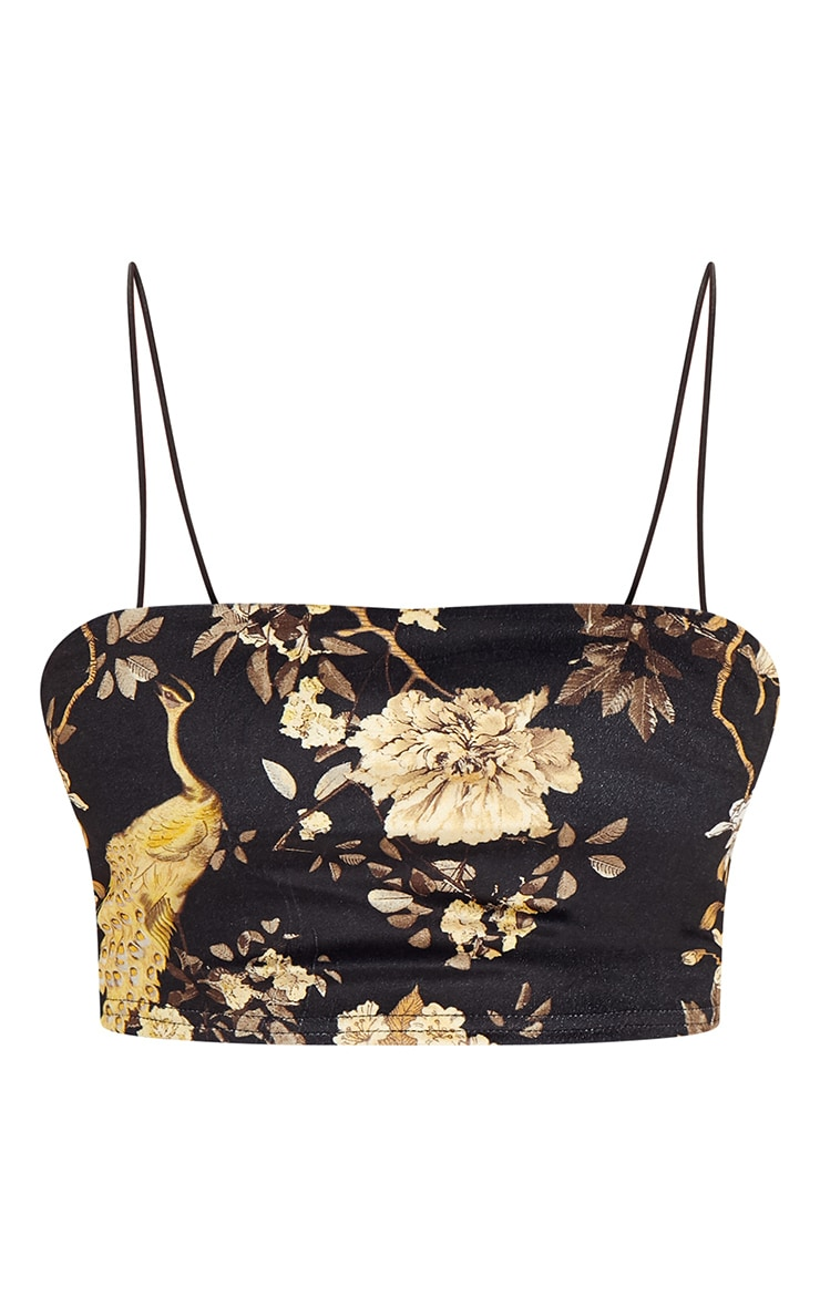 Black Floral Velvet Strappy Crop Top 3