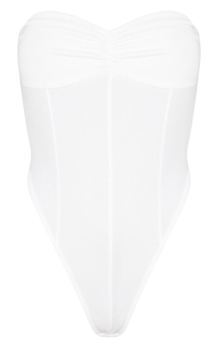 Basic White Crepe Twist Bandeau Bodysuit 3