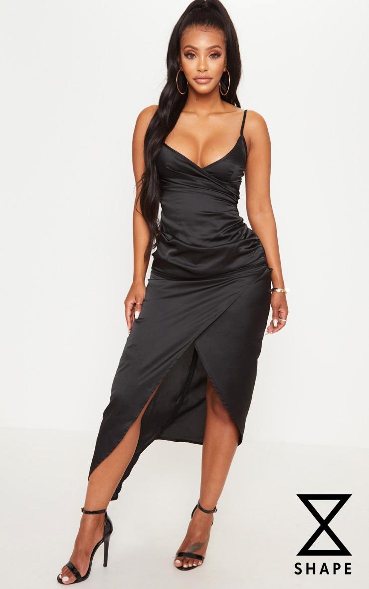 Shape - Robe mi-longue portefeuille noire satinée