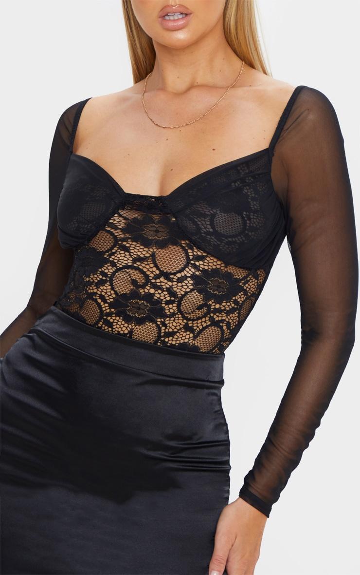 Black Chiffon Sleeve Lace Bodysuit  6