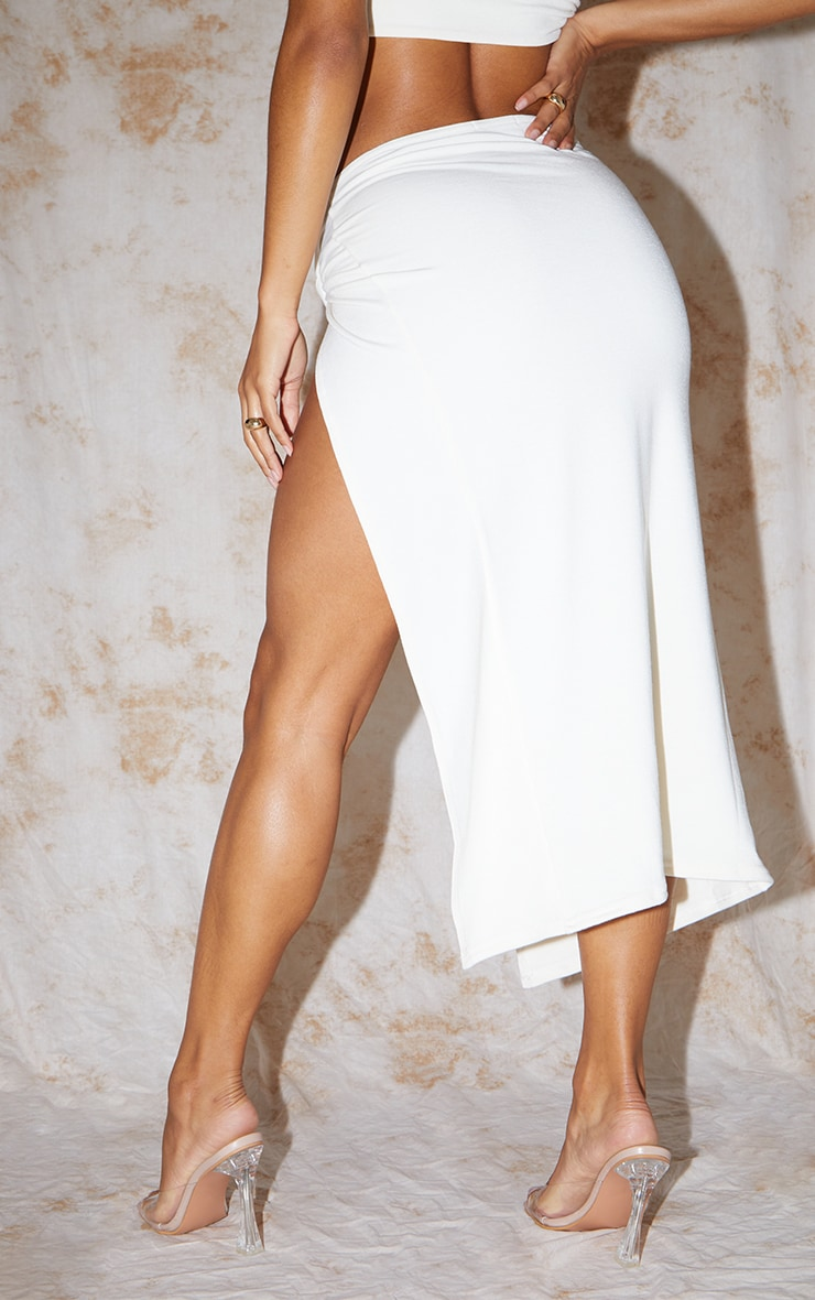 Recycled Cream Contour Jersey Twist Front Midaxi Skirt 3