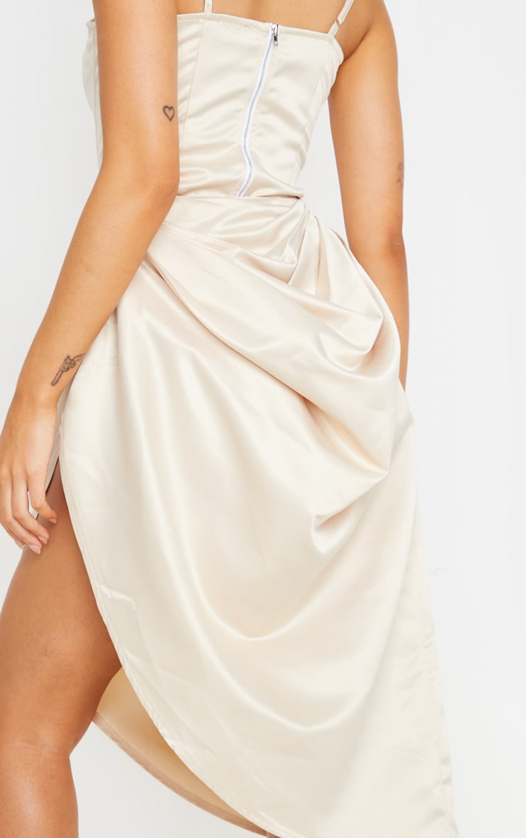 Cream Satin Woven Ruched Side Midi Skirt 5
