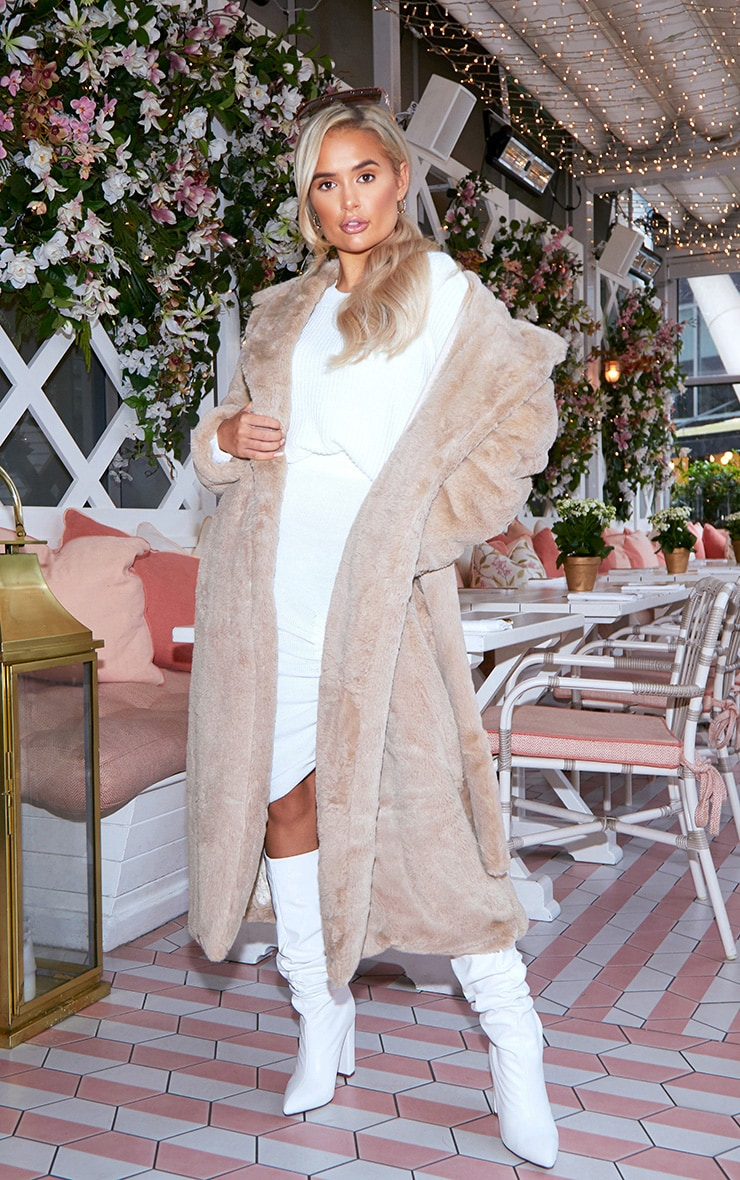 Taupe Belted Faux Fur Coat