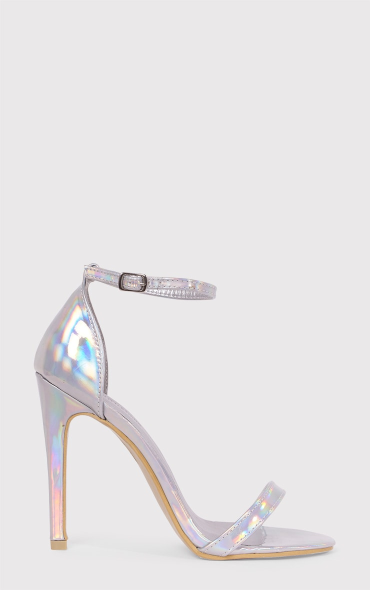 Clover Silver Holographic Strap Heeled Sandals 1