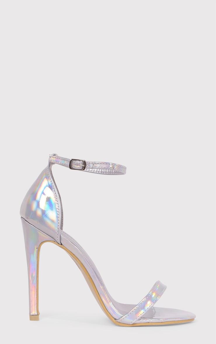 Clover sandales à talons à bride argent holographique 1