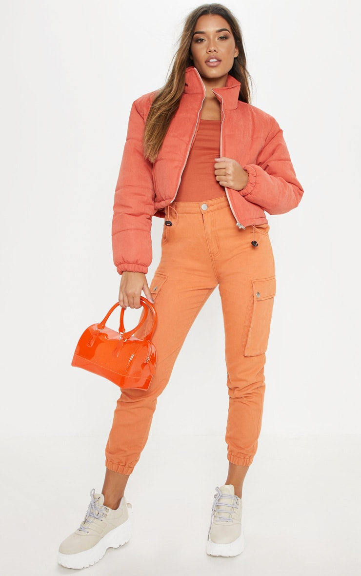 Rust Super Cropped Peach Skin Puffer 4