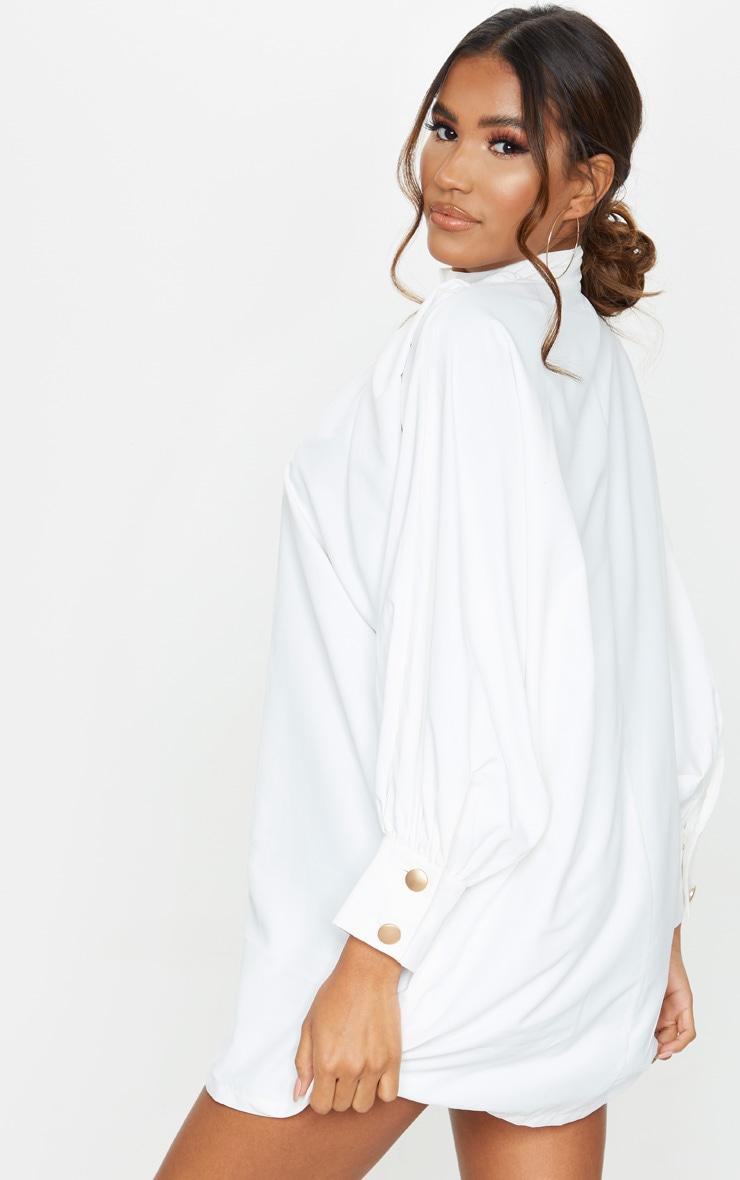 White Gold Button Detail Shirt Dress 2