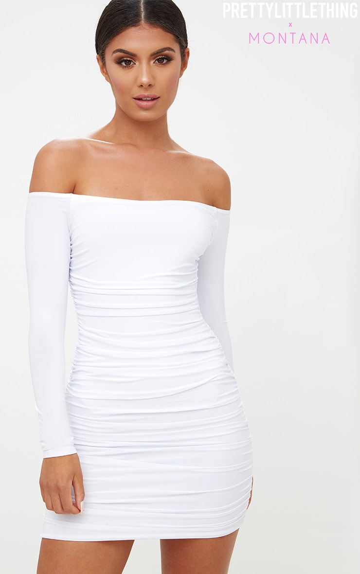 White Bardot Ruched Bodycon Dress 1