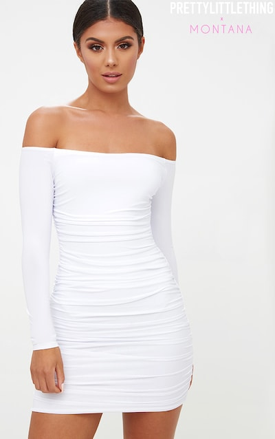 8bb56fed1c White Bardot Ruched Bodycon Dress