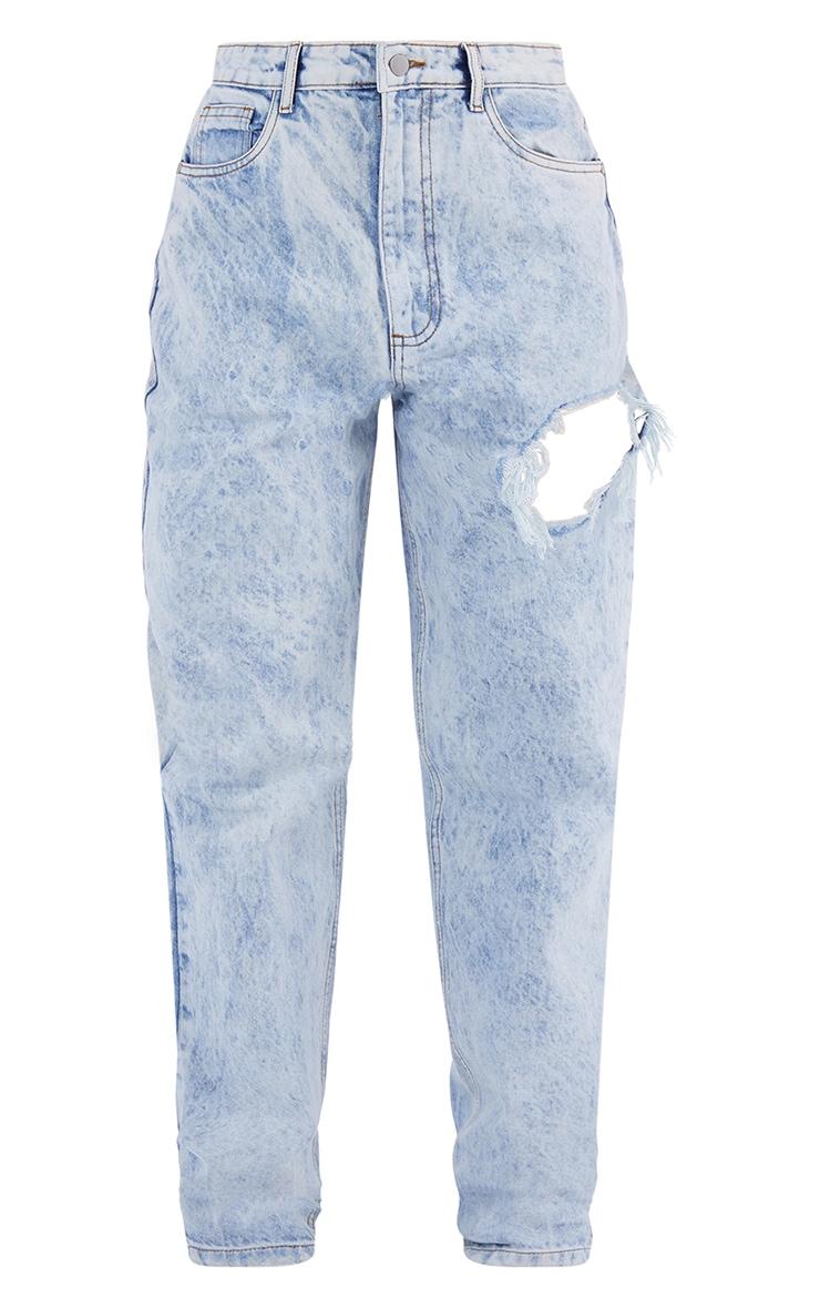 Acid Blue Wash Thigh Ripped Boyfriend Jeans 5