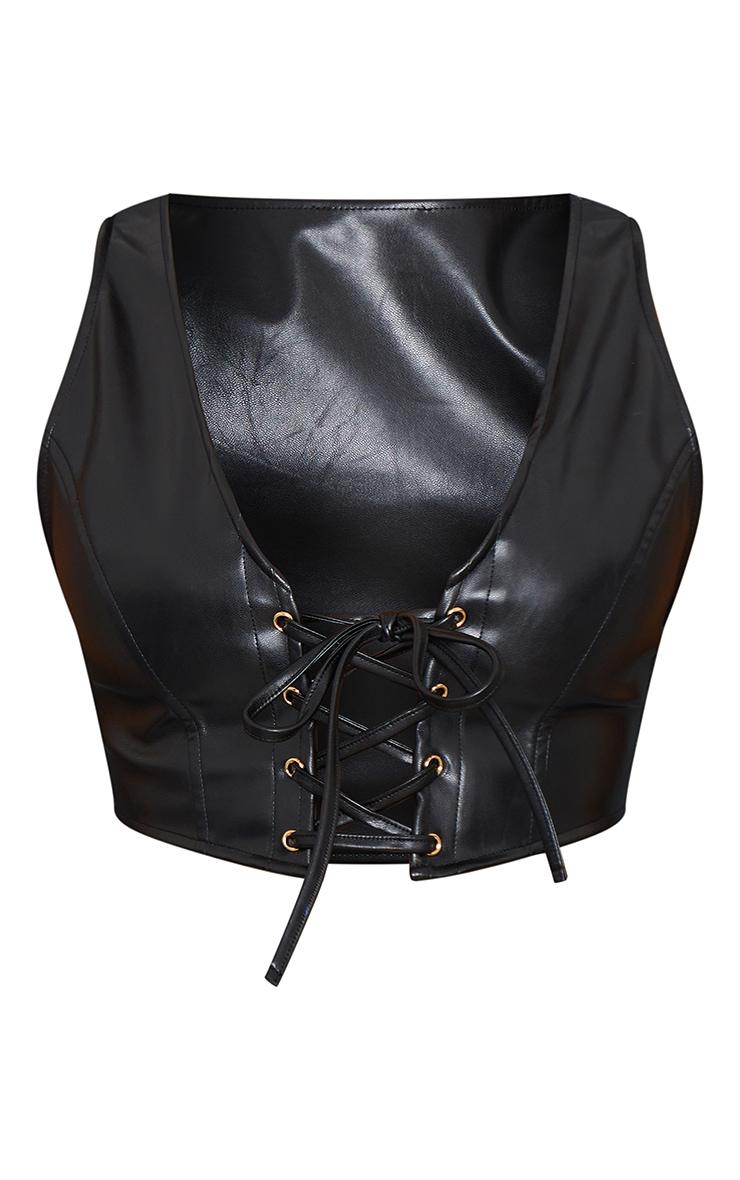 Black Faux Leather Lace Front Crop Top 5