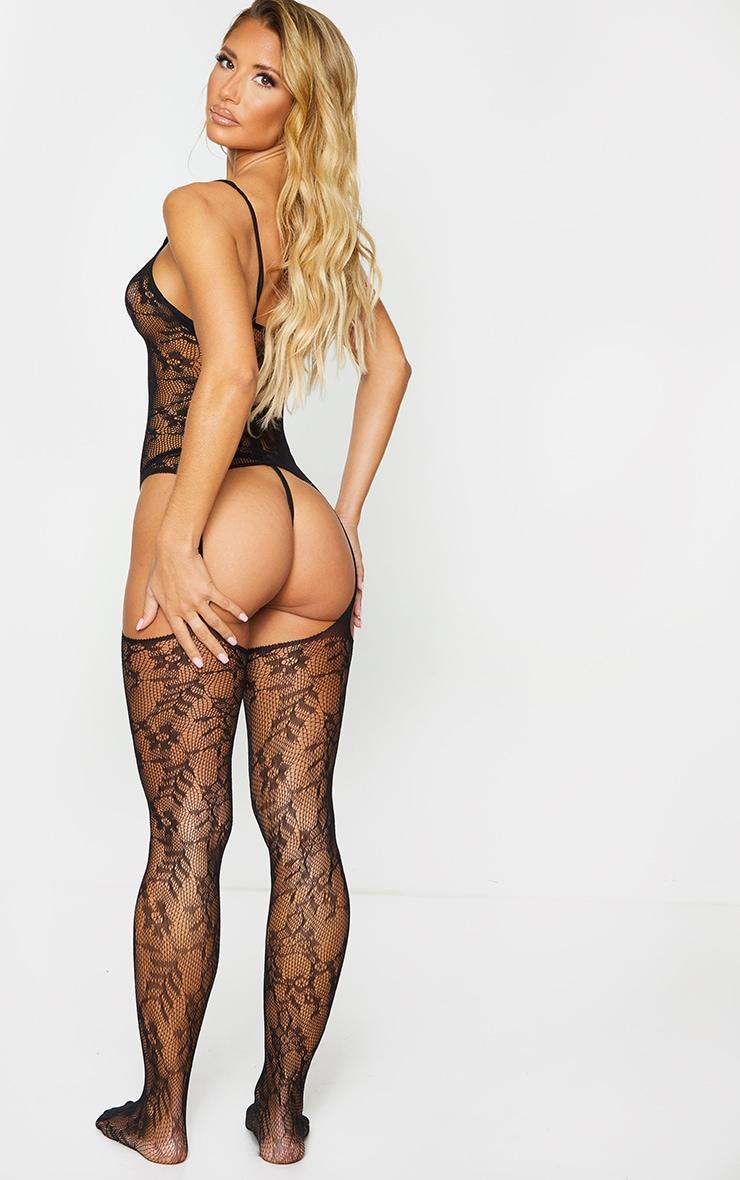 Black Lace Strappy Neck Suspender Body Stocking 2