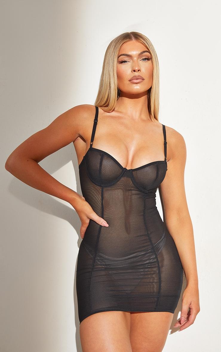 Black Shapewear Power Mesh Underwired Control Slip Dress 1
