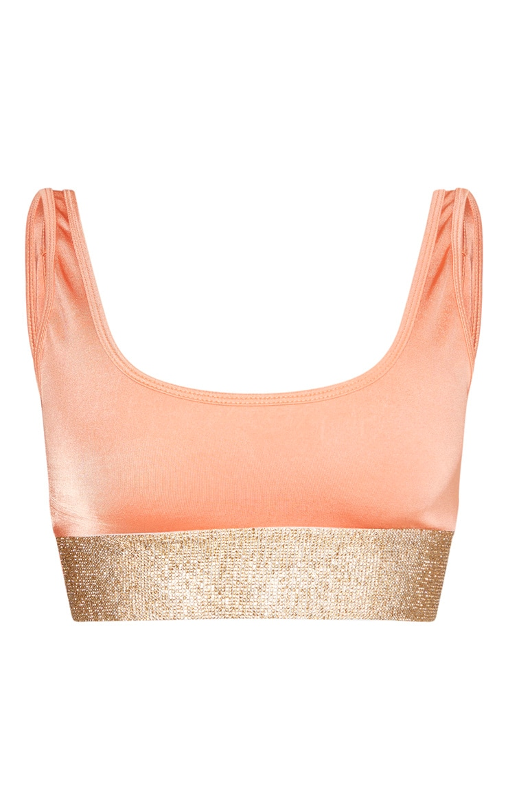 Peach Diamante High Leg Bikini Bottom 1