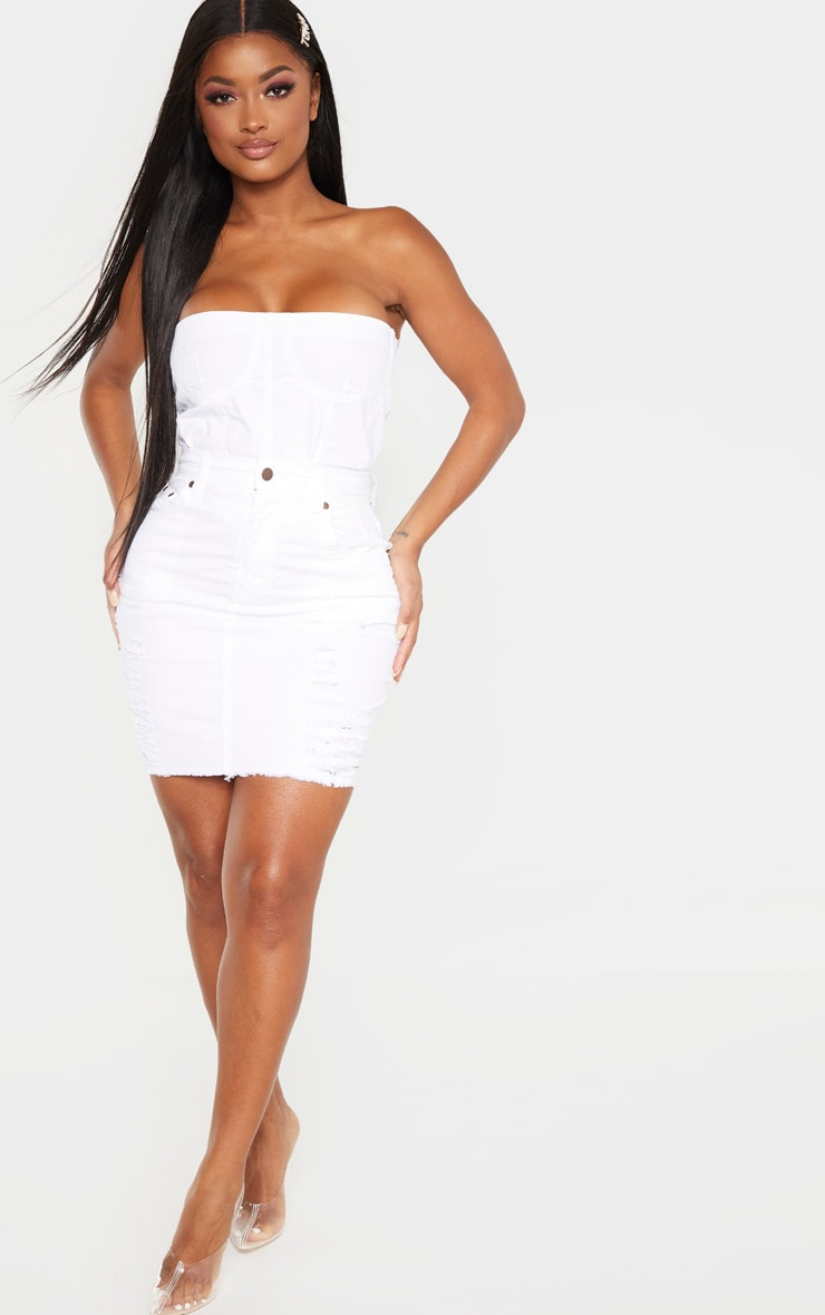 Shape White Denim Corset Detail Crop Top 4