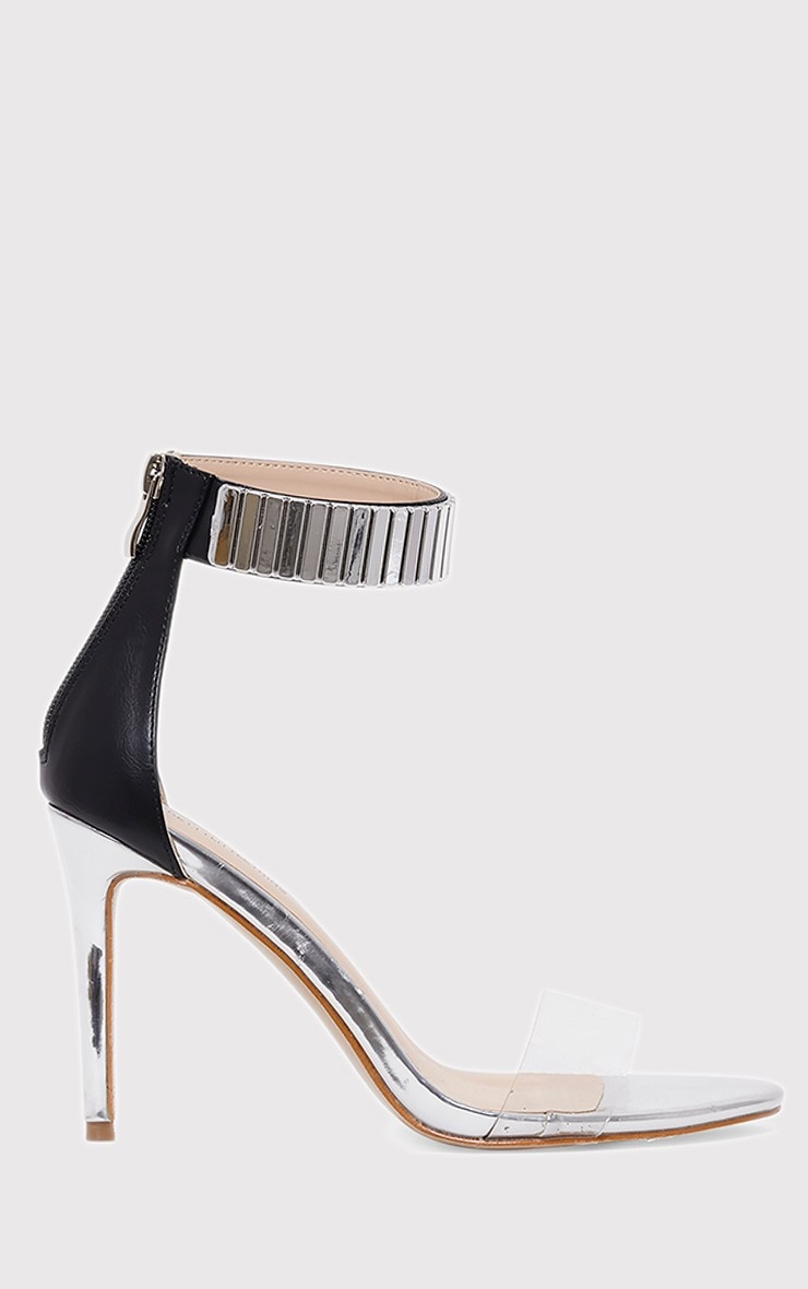 Christal Silver Metal Ankle Cuff Heeled Sandals 1