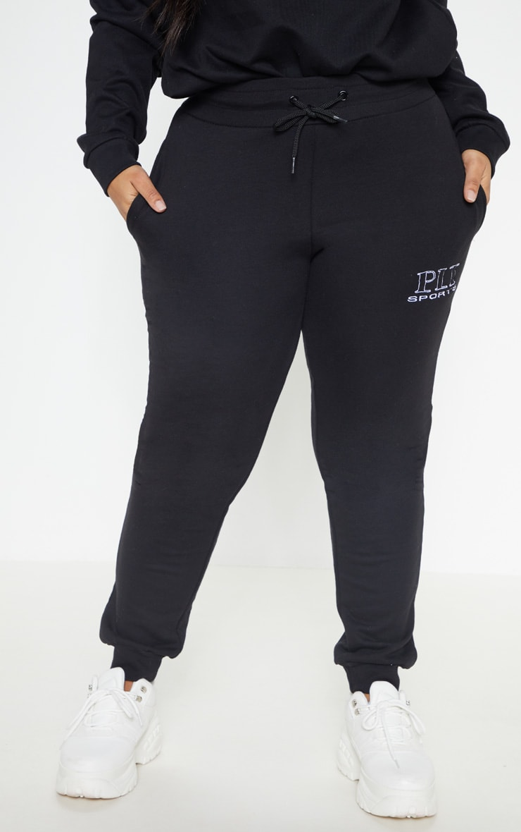 PRETTYLITTLETHING Plus Black Embroidered Jogger 2