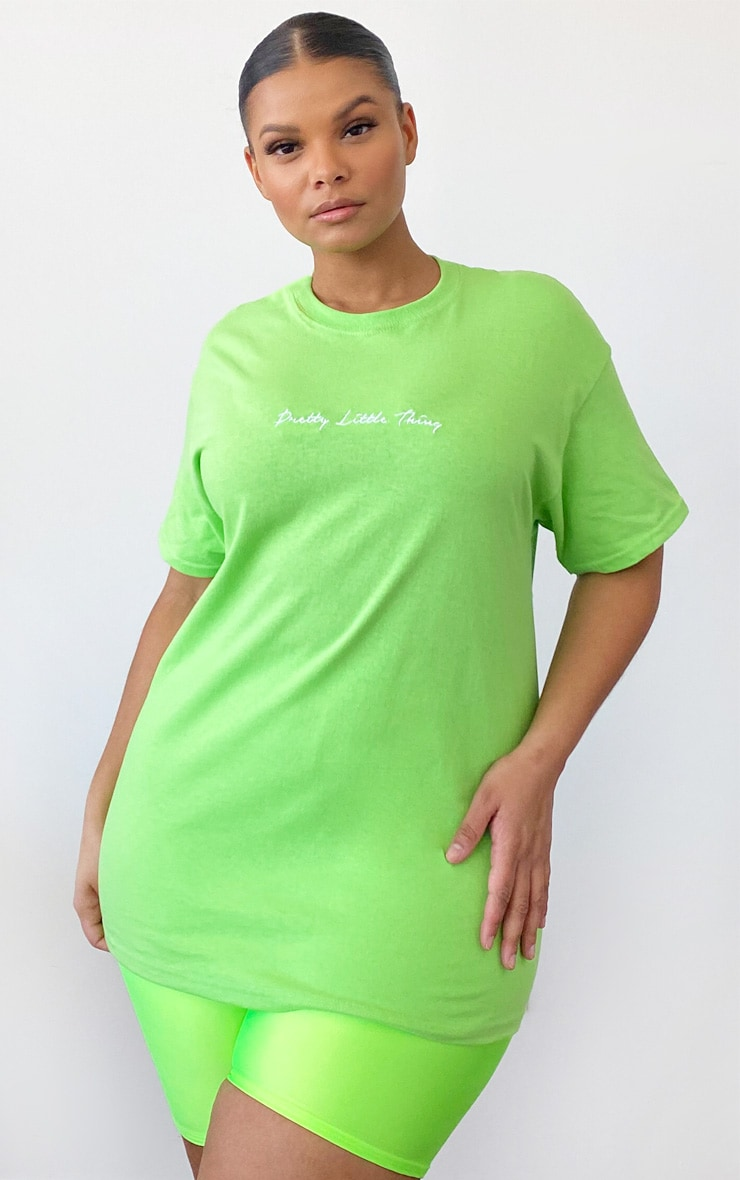 PRETTYLITTLETHING Plus - T-shirt vert citron à slogan  5
