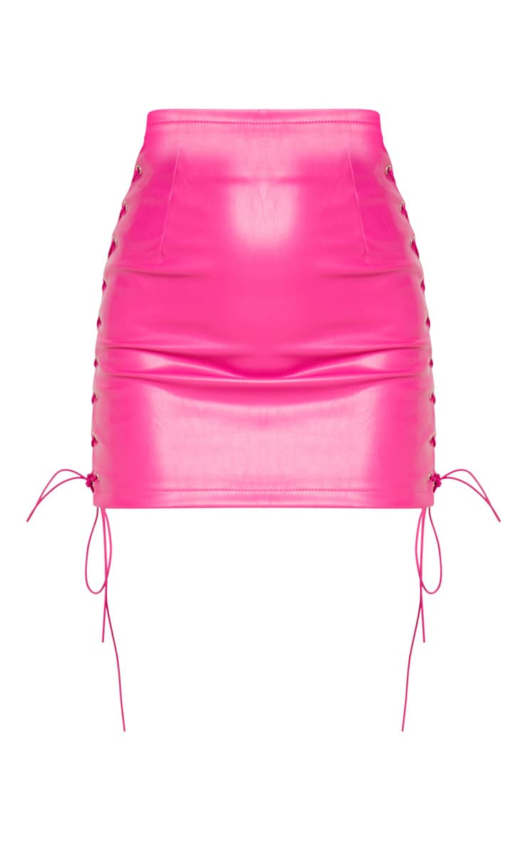 Hot Pink Faux Leather Lace Up Detail Mini Skirt 3
