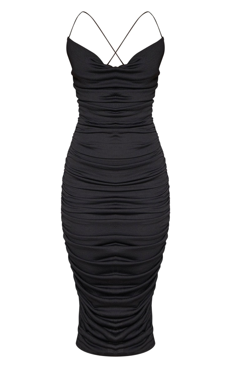 Black Crinkle Texture Ruched Cowl Neck Midi Dress 3