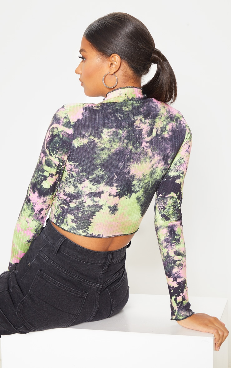 Multi Tie Dye Printed Rib High Neck Crop Top 2