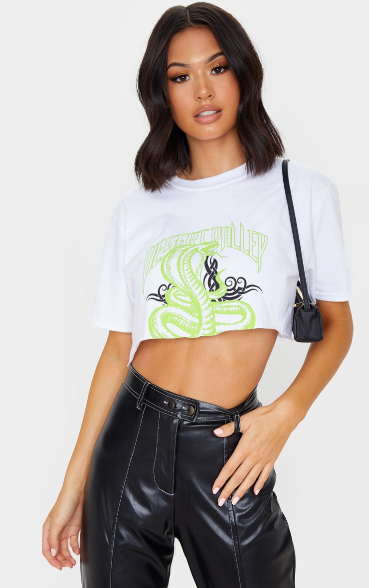 White Snake Cropped T Shirt 1