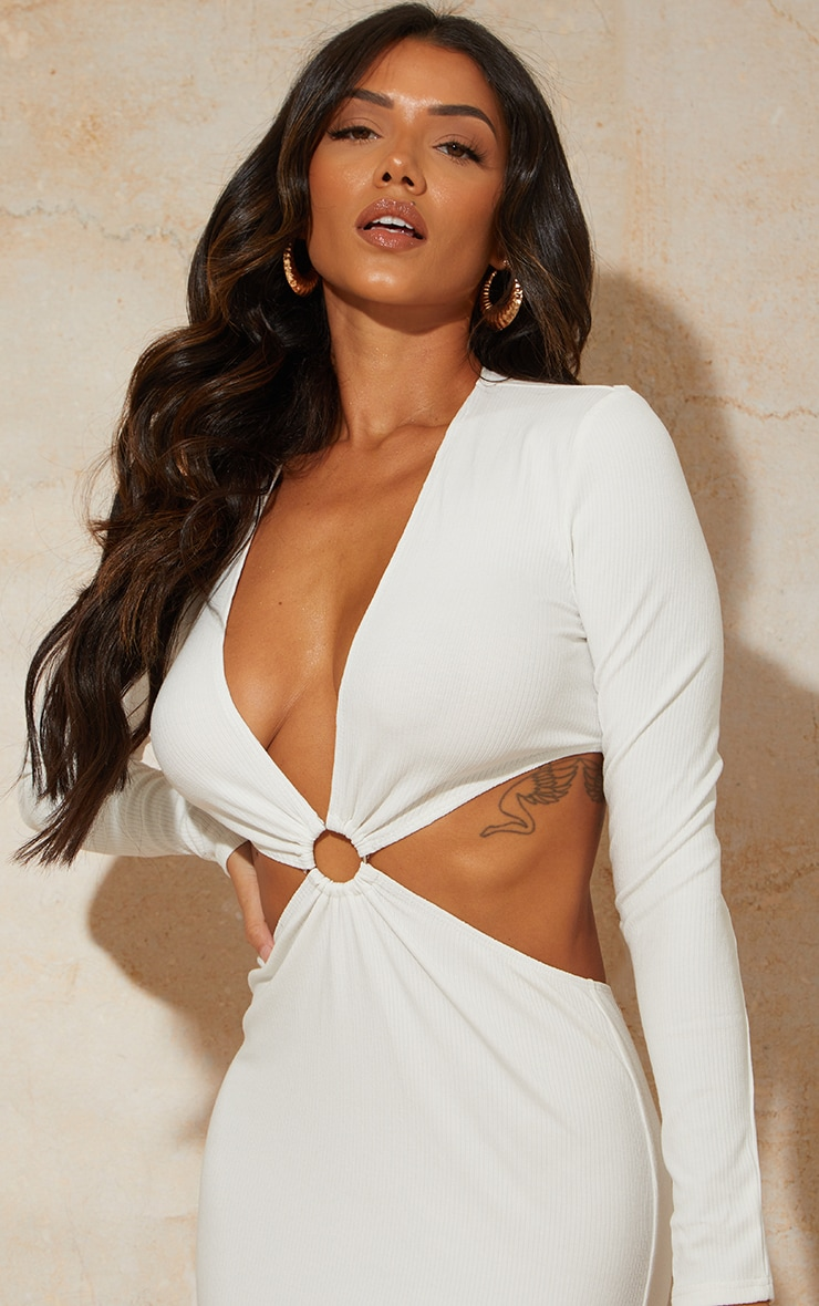 White Ribbed Long Sleeve Ring Cut Out Detail Midaxi Dress 4