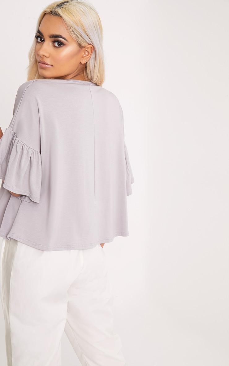 Adnie Dove Grey Frill Sleeve T Shirt  2