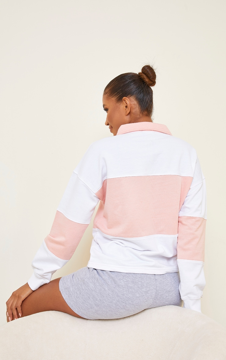 PRETTYLITTLETHING White Oversized Button Up Rugby Shirt 2