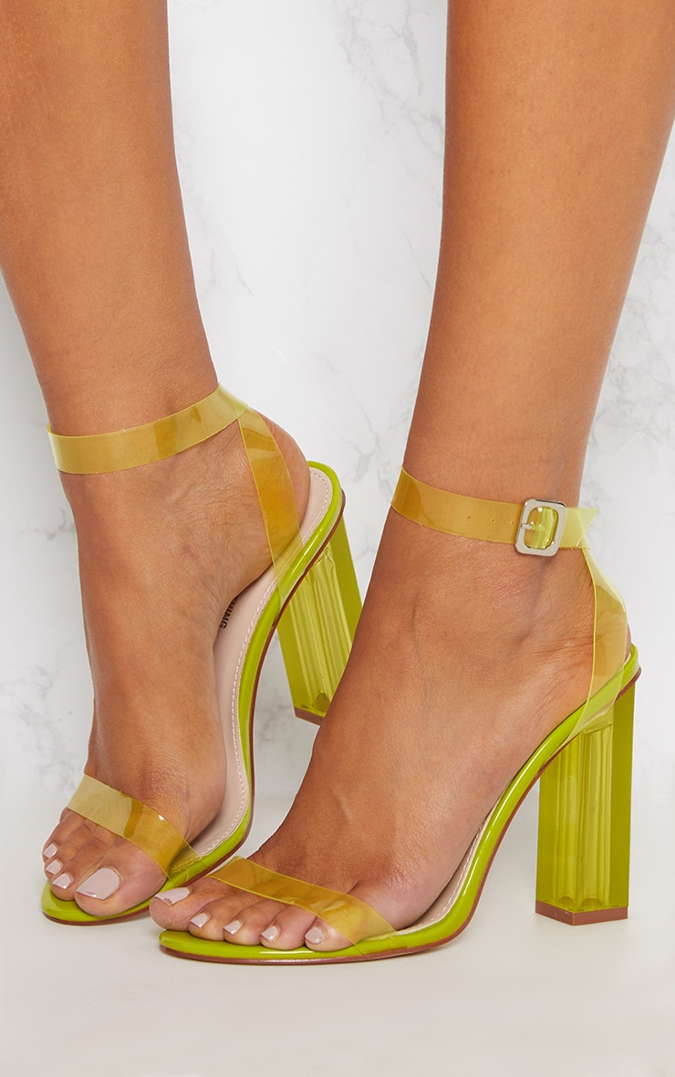 Lime Coloured Clear Strappy Heel 2