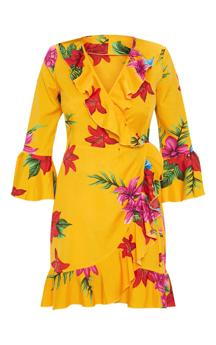 Orange Floral Printed Frill Wrap Tea Dress 3
