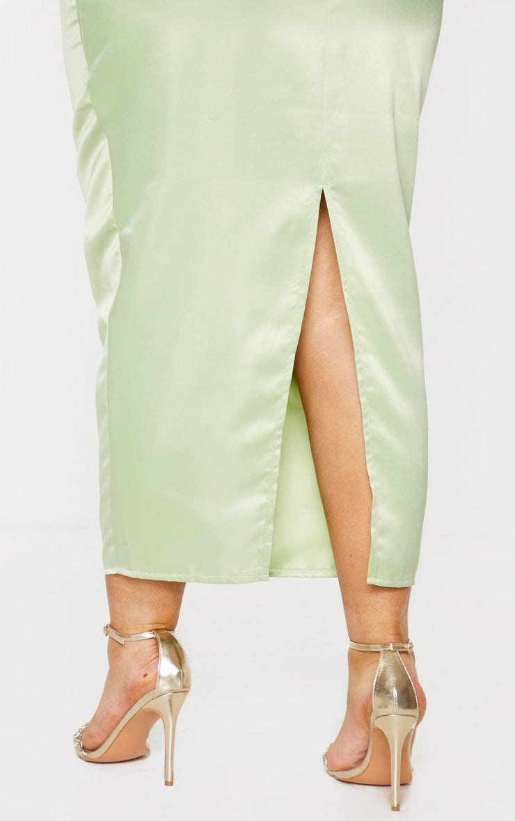 Plus Sage Green Structured Satin Midaxi Skirt 4