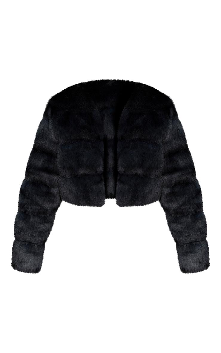 Black Premium Cropped Faux Fur Bubble Coat 5