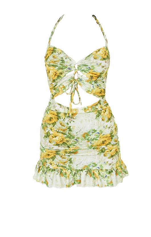 Yellow Floral Print Cut Out Frill Hem Halterneck Shift Dress 5