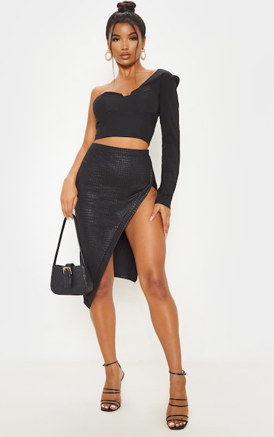 Black Embossed Croc Extreme Split Midi Skirt
