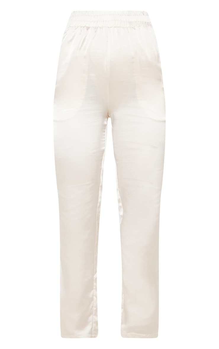 Cream Satin Cigarette Casual Pants 3