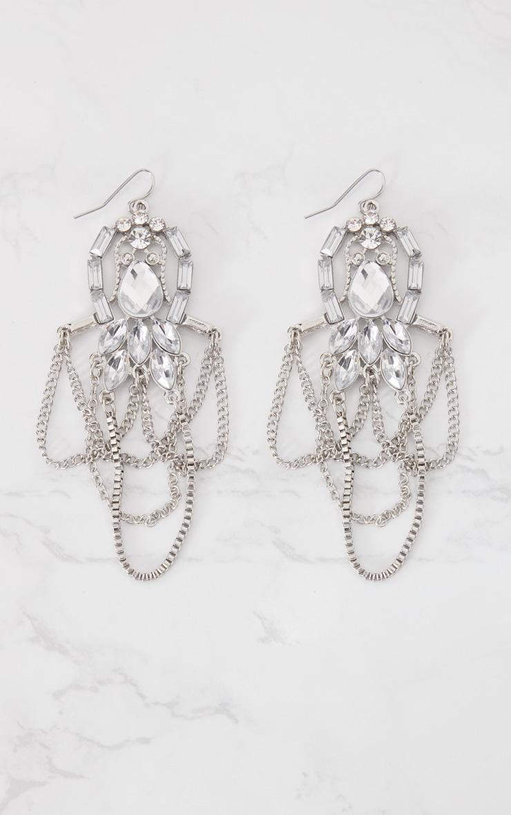 Silver Jewel Draped Chain Drop Earrings 3