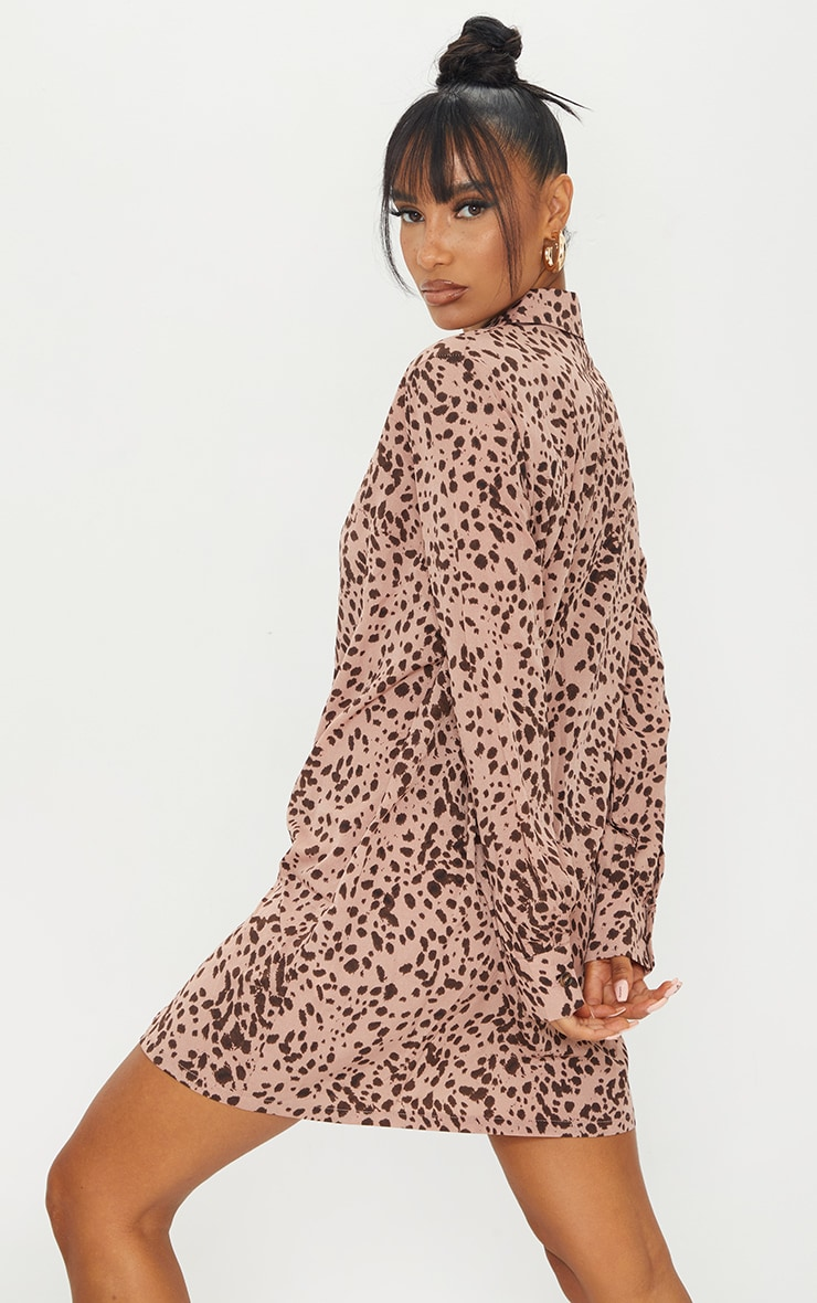 Blush Dalmatian Print Long Sleeve Shirt Dress 2