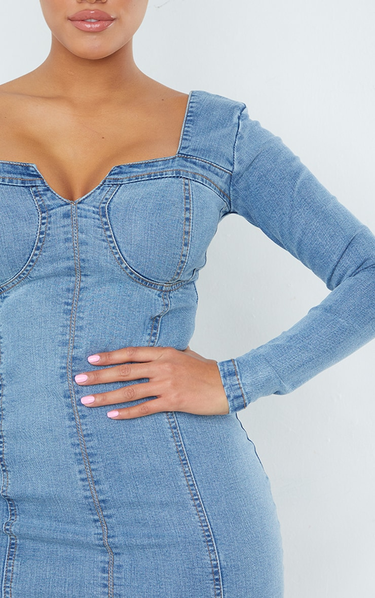 Shape - Robe moulante manches longues en denim délavé vintage à détail coutures 4